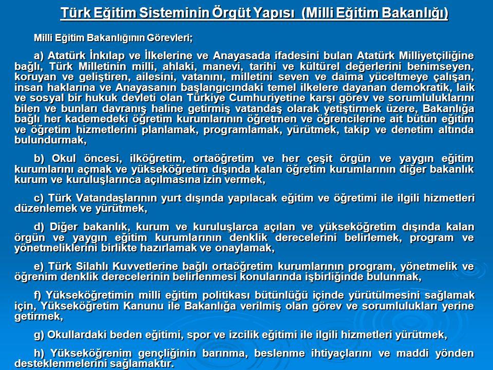 Türk Eğitim Sisteminin Örgüt Yapısı (Milli Eğitim Bakanlığı)