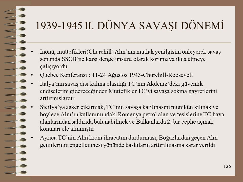 1939-1945 II. DÜNYA SAVAŞI DÖNEMİ