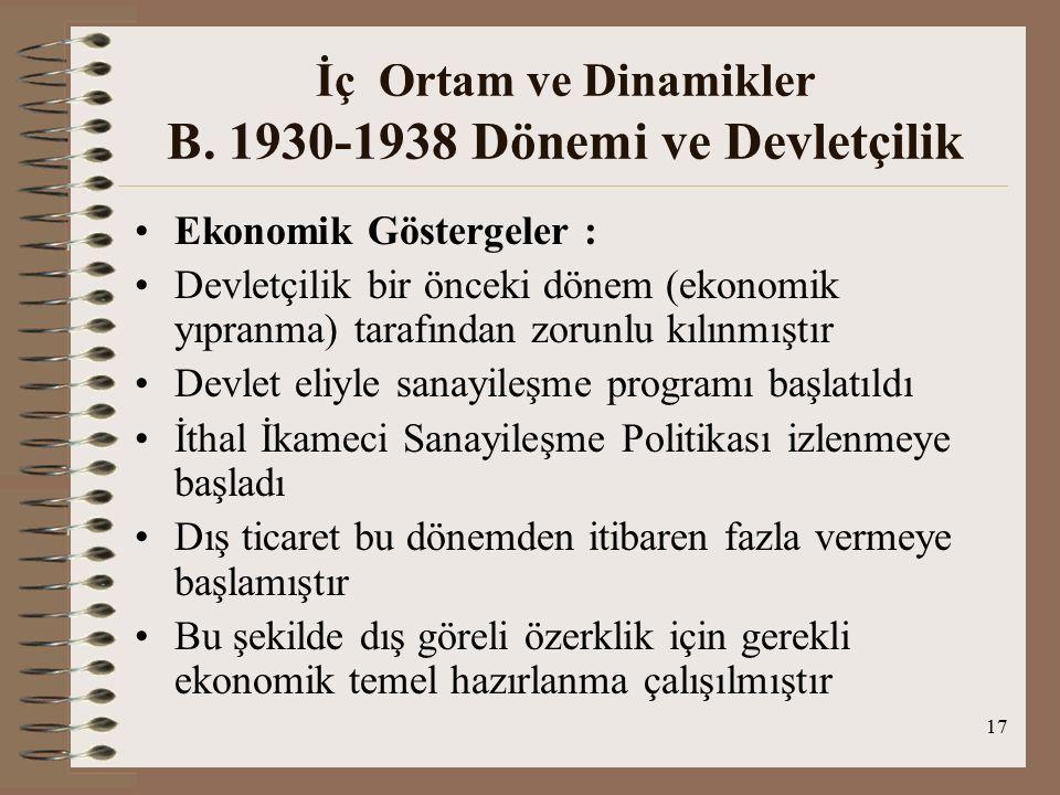 İç Ortam ve Dinamikler B. 1930-1938 Dönemi ve Devletçilik