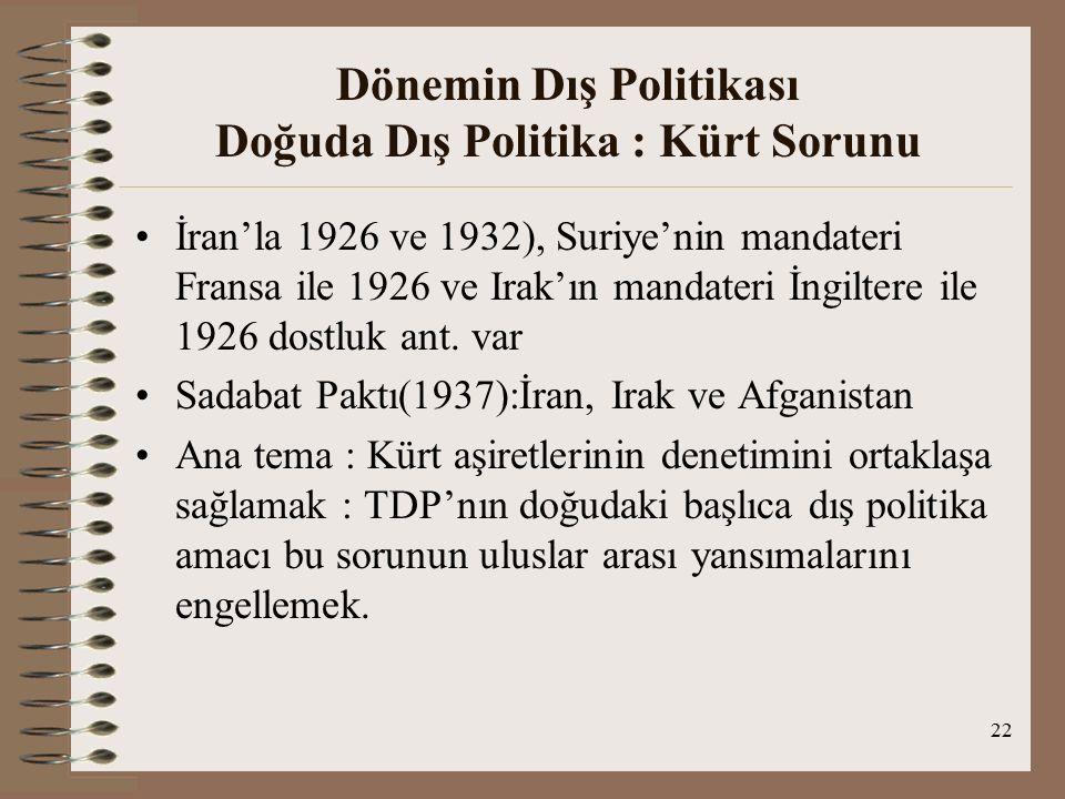 Dönemin Dış Politikası Doğuda Dış Politika : Kürt Sorunu