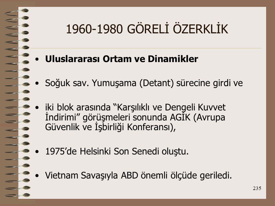 1960-1980 GÖRELİ ÖZERKLİK Uluslararası Ortam ve Dinamikler
