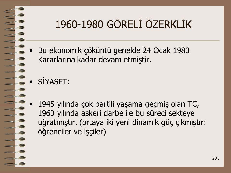 1960-1980 GÖRELİ ÖZERKLİK Bu ekonomik çöküntü genelde 24 Ocak 1980 Kararlarına kadar devam etmiştir.