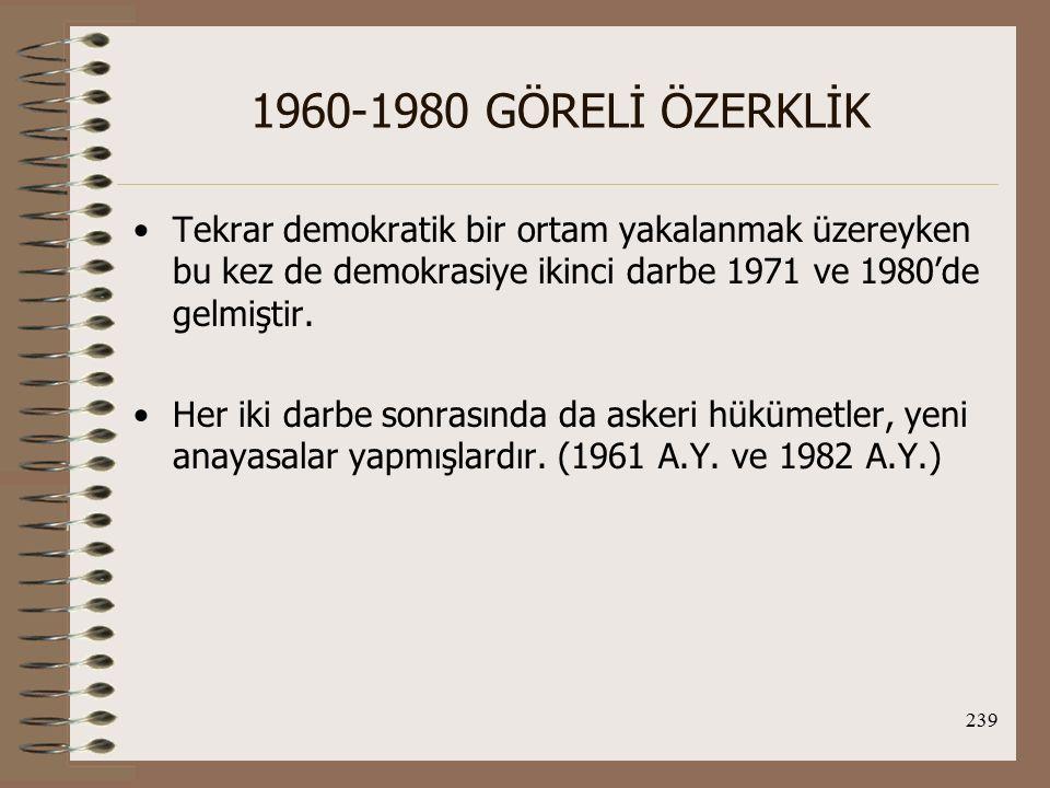 1960-1980 GÖRELİ ÖZERKLİK Tekrar demokratik bir ortam yakalanmak üzereyken bu kez de demokrasiye ikinci darbe 1971 ve 1980'de gelmiştir.