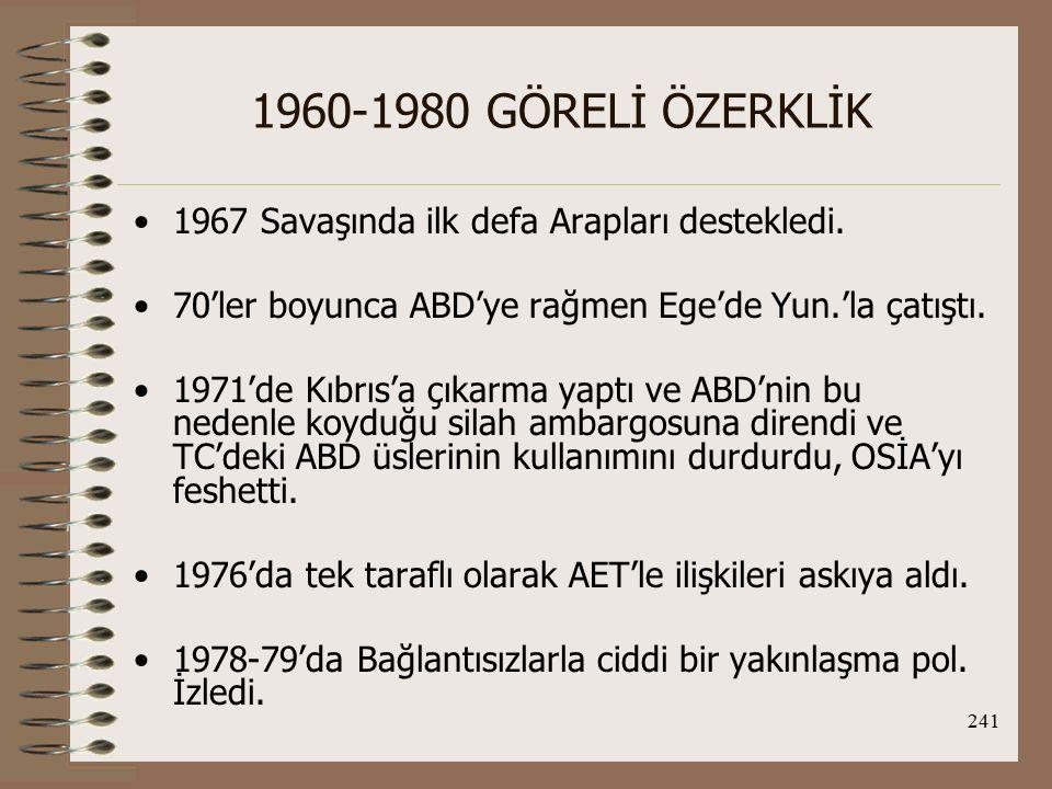 1960-1980 GÖRELİ ÖZERKLİK 1967 Savaşında ilk defa Arapları destekledi.