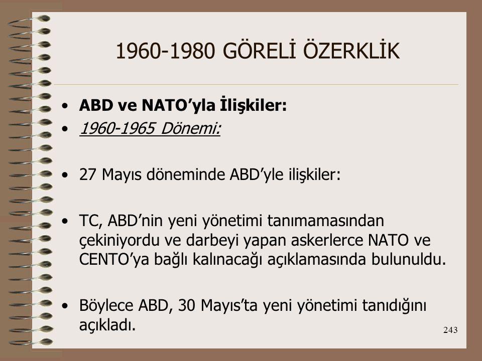 1960-1980 GÖRELİ ÖZERKLİK ABD ve NATO'yla İlişkiler: 1960-1965 Dönemi:
