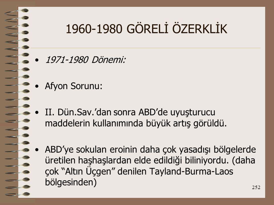 1960-1980 GÖRELİ ÖZERKLİK 1971-1980 Dönemi: Afyon Sorunu: