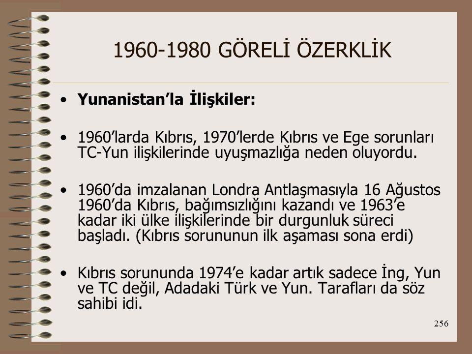 1960-1980 GÖRELİ ÖZERKLİK Yunanistan'la İlişkiler: