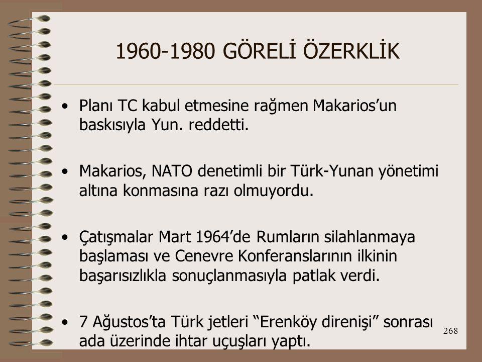1960-1980 GÖRELİ ÖZERKLİK Planı TC kabul etmesine rağmen Makarios'un baskısıyla Yun. reddetti.