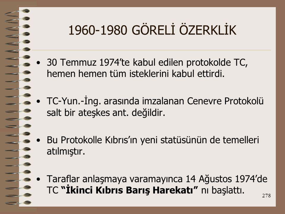 1960-1980 GÖRELİ ÖZERKLİK 30 Temmuz 1974'te kabul edilen protokolde TC, hemen hemen tüm isteklerini kabul ettirdi.