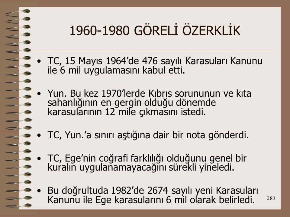1960-1980 GÖRELİ ÖZERKLİK TC, 15 Mayıs 1964'de 476 sayılı Karasuları Kanunu ile 6 mil uygulamasını kabul etti.