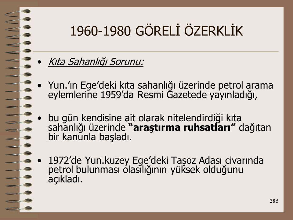 1960-1980 GÖRELİ ÖZERKLİK Kıta Sahanlığı Sorunu: