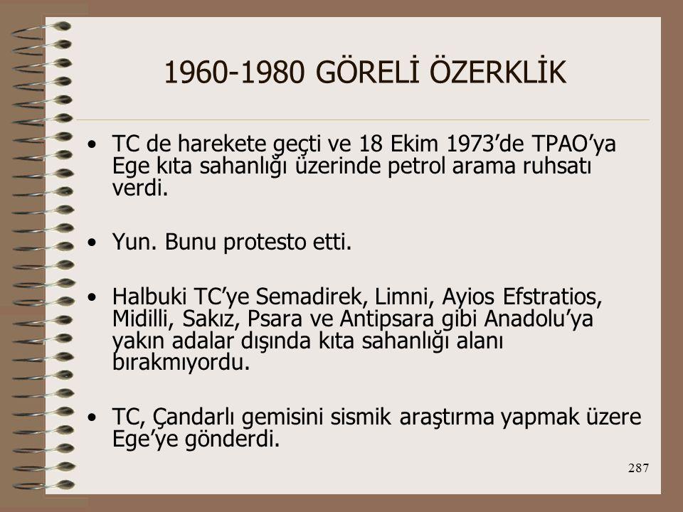 1960-1980 GÖRELİ ÖZERKLİK TC de harekete geçti ve 18 Ekim 1973'de TPAO'ya Ege kıta sahanlığı üzerinde petrol arama ruhsatı verdi.