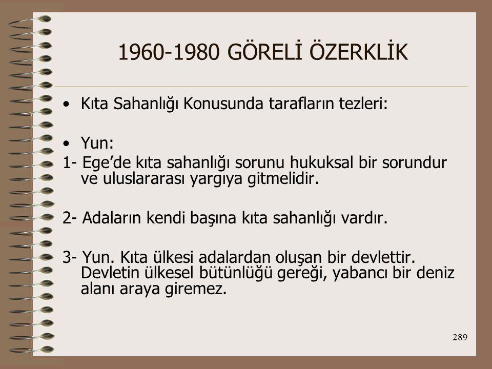1960-1980 GÖRELİ ÖZERKLİK Kıta Sahanlığı Konusunda tarafların tezleri: