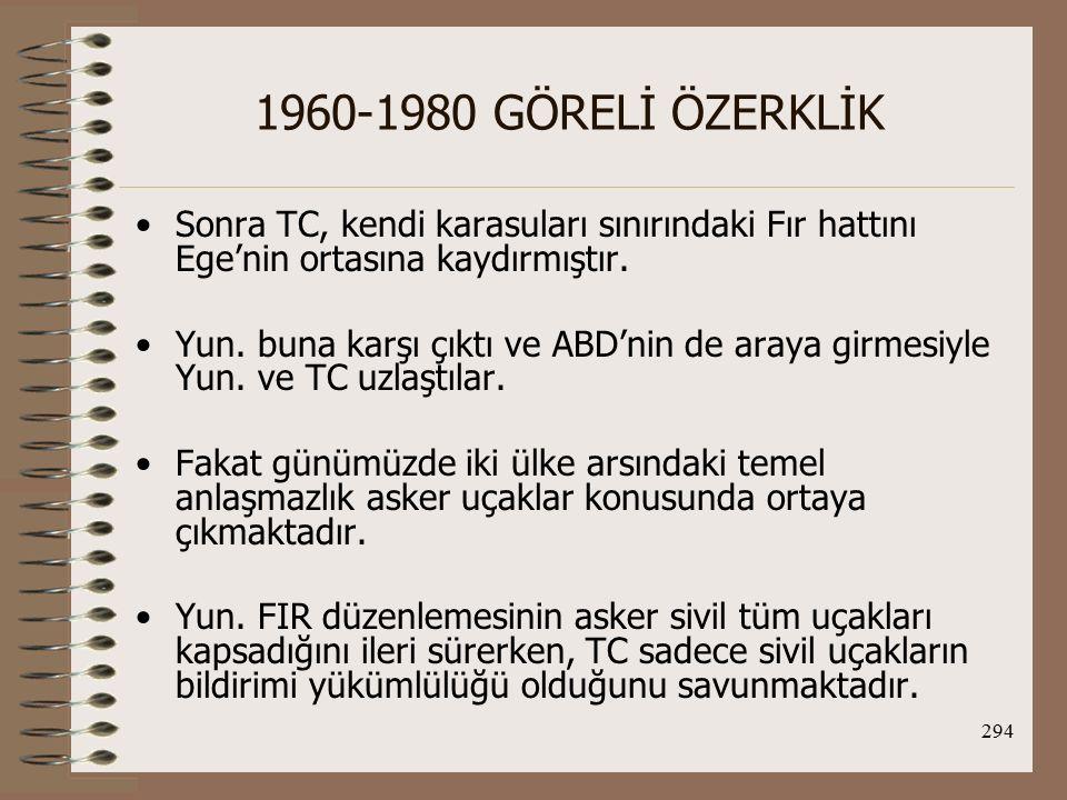 1960-1980 GÖRELİ ÖZERKLİK Sonra TC, kendi karasuları sınırındaki Fır hattını Ege'nin ortasına kaydırmıştır.