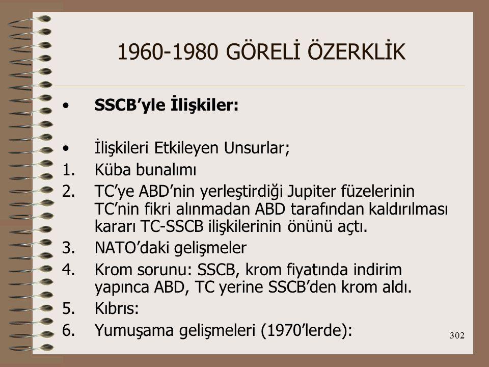 1960-1980 GÖRELİ ÖZERKLİK SSCB'yle İlişkiler: