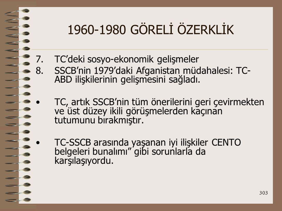 1960-1980 GÖRELİ ÖZERKLİK TC'deki sosyo-ekonomik gelişmeler