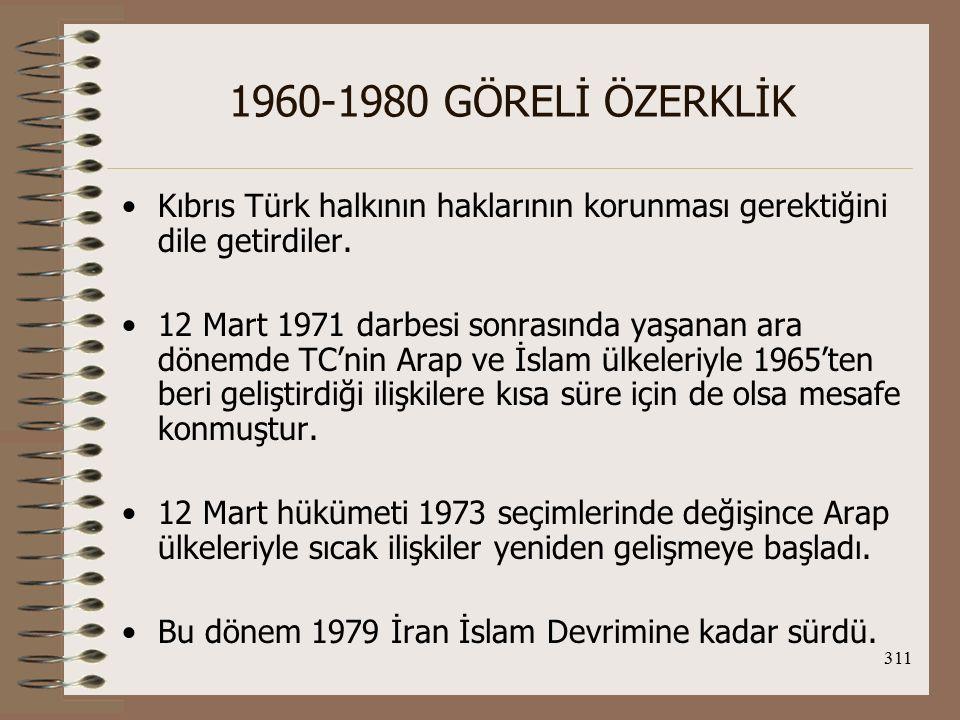 1960-1980 GÖRELİ ÖZERKLİK Kıbrıs Türk halkının haklarının korunması gerektiğini dile getirdiler.