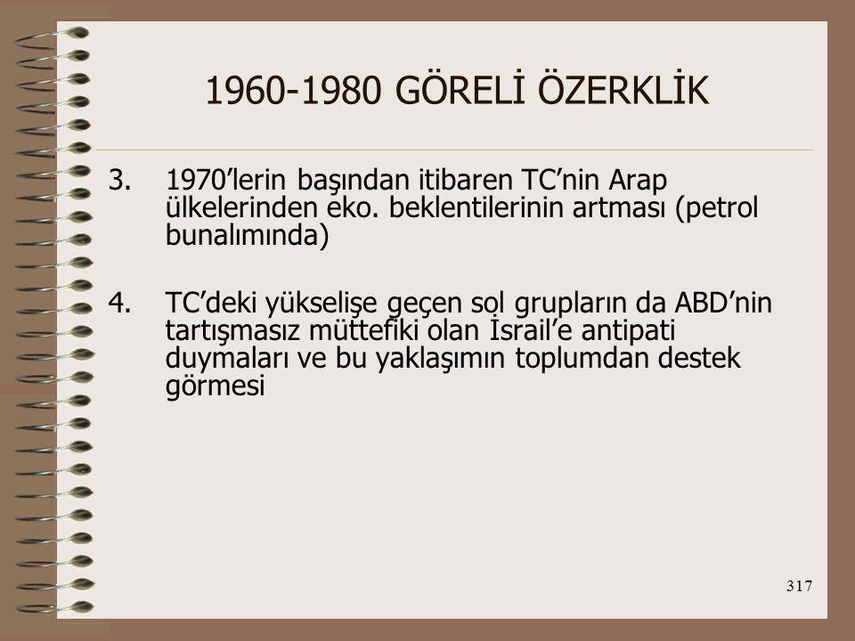 1960-1980 GÖRELİ ÖZERKLİK 1970'lerin başından itibaren TC'nin Arap ülkelerinden eko. beklentilerinin artması (petrol bunalımında)