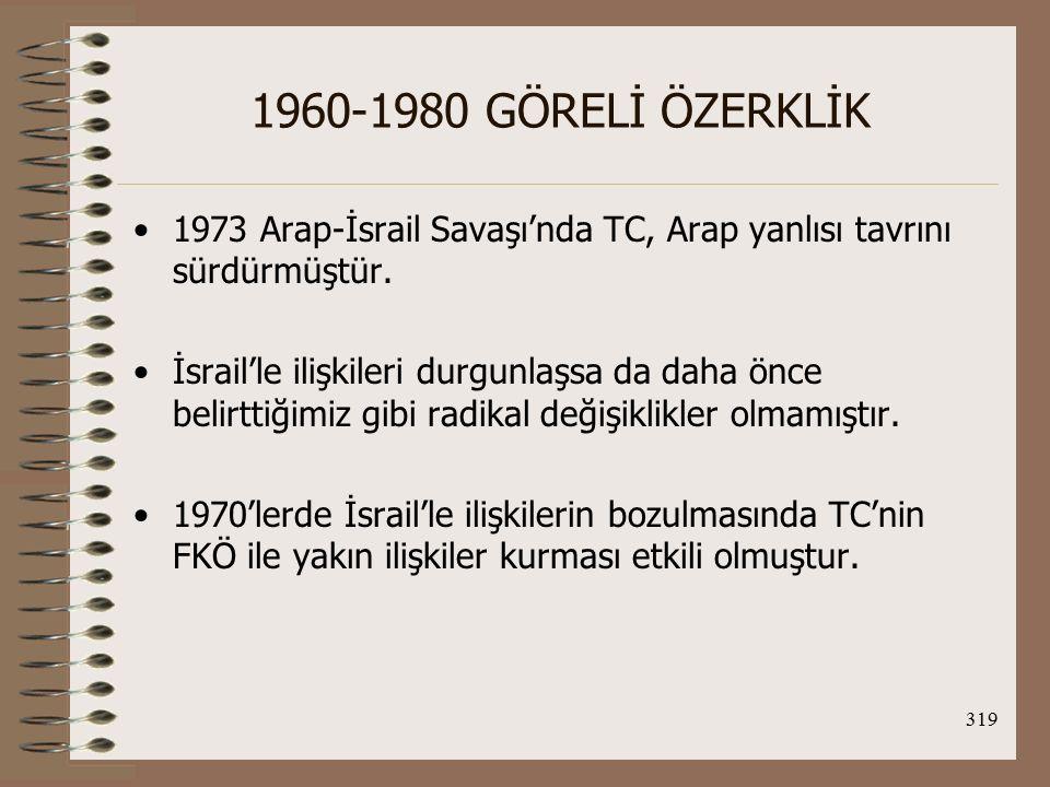 1960-1980 GÖRELİ ÖZERKLİK 1973 Arap-İsrail Savaşı'nda TC, Arap yanlısı tavrını sürdürmüştür.