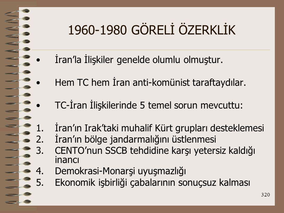 1960-1980 GÖRELİ ÖZERKLİK İran'la İlişkiler genelde olumlu olmuştur.