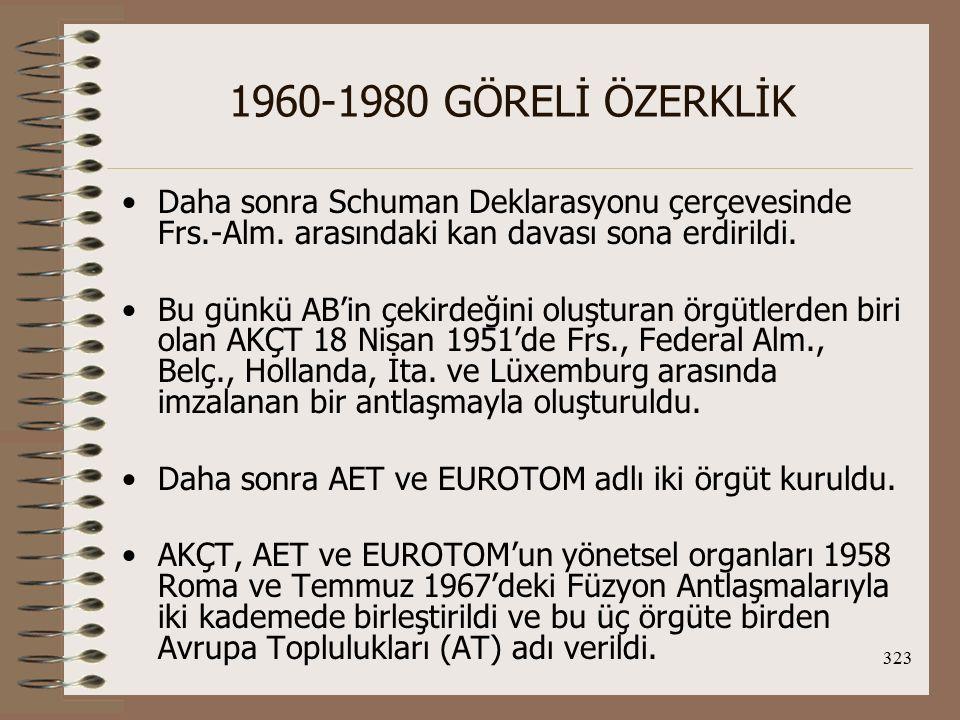 1960-1980 GÖRELİ ÖZERKLİK Daha sonra Schuman Deklarasyonu çerçevesinde Frs.-Alm. arasındaki kan davası sona erdirildi.