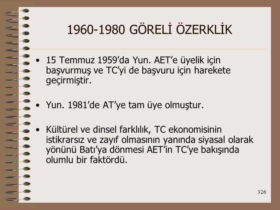 1960-1980 GÖRELİ ÖZERKLİK 15 Temmuz 1959'da Yun. AET'e üyelik için başvurmuş ve TC'yi de başvuru için harekete geçirmiştir.