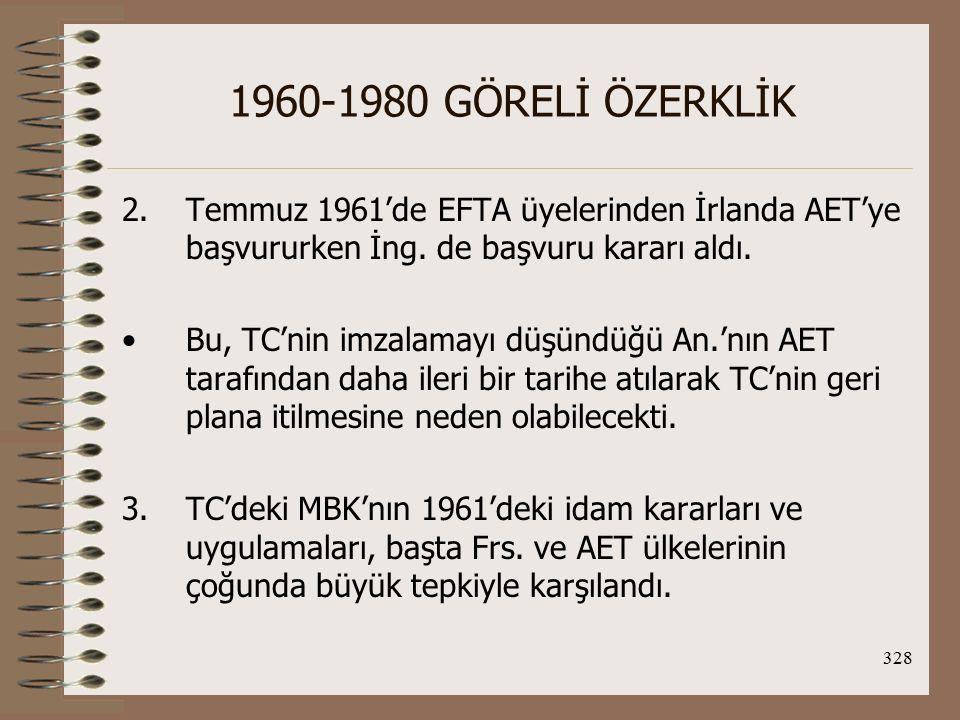 1960-1980 GÖRELİ ÖZERKLİK Temmuz 1961'de EFTA üyelerinden İrlanda AET'ye başvururken İng. de başvuru kararı aldı.