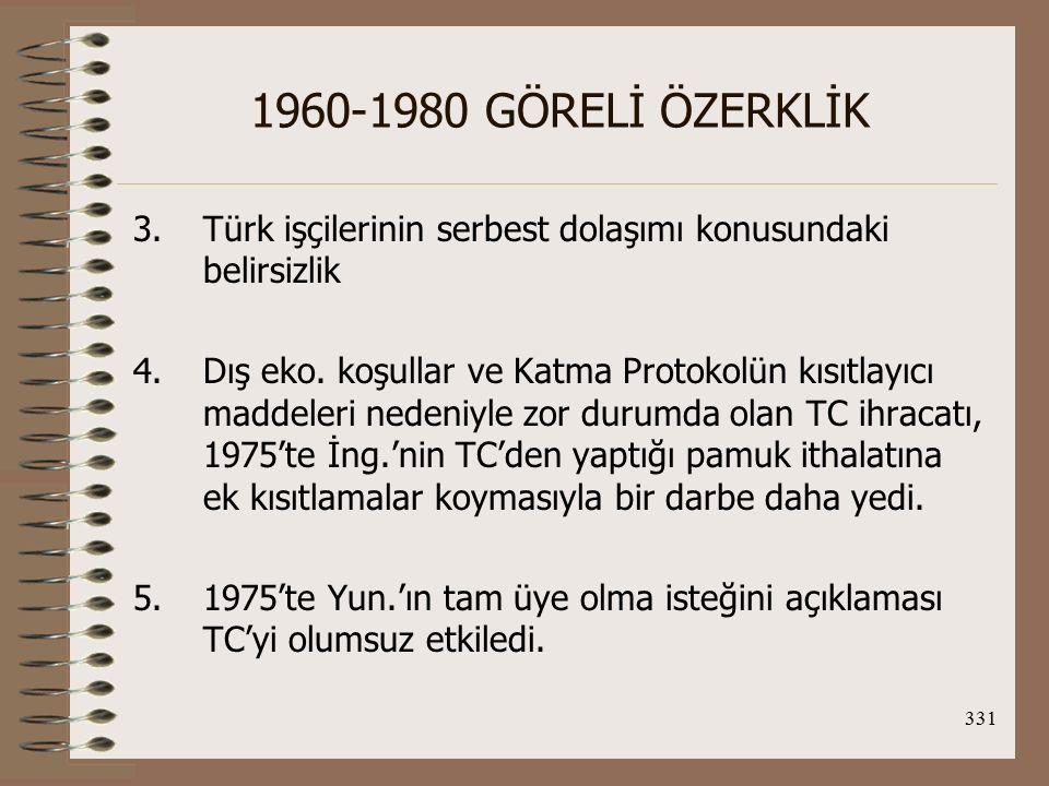 1960-1980 GÖRELİ ÖZERKLİK Türk işçilerinin serbest dolaşımı konusundaki belirsizlik.