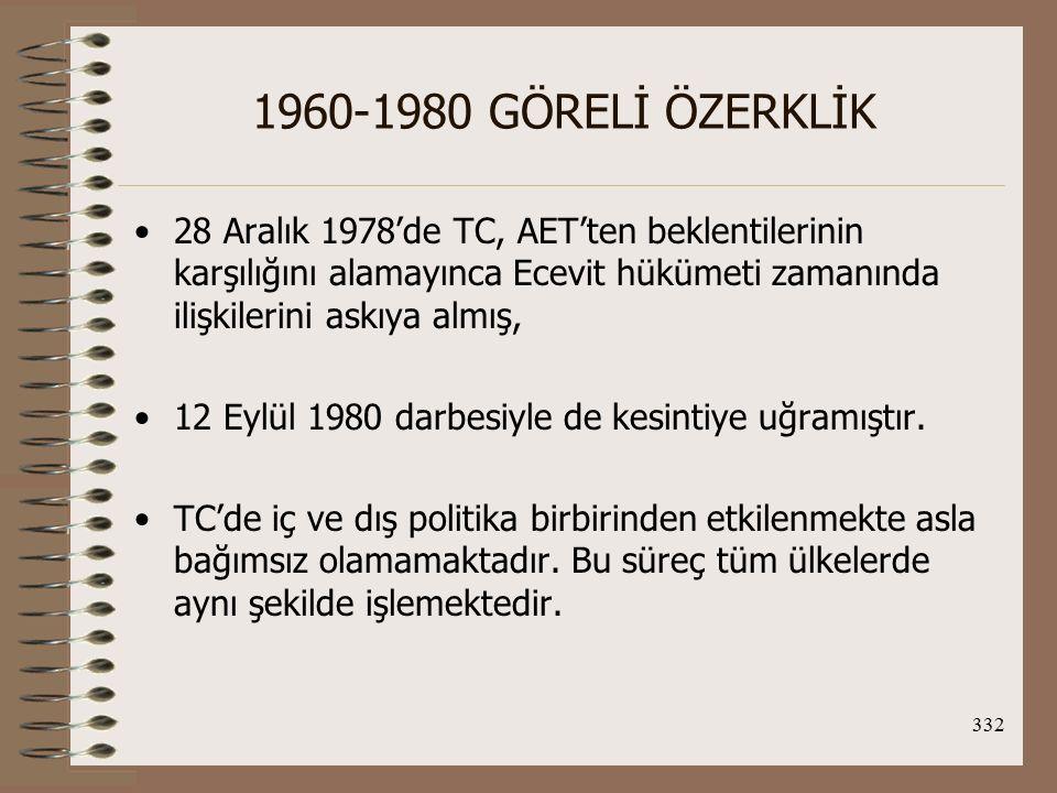 1960-1980 GÖRELİ ÖZERKLİK 28 Aralık 1978'de TC, AET'ten beklentilerinin karşılığını alamayınca Ecevit hükümeti zamanında ilişkilerini askıya almış,