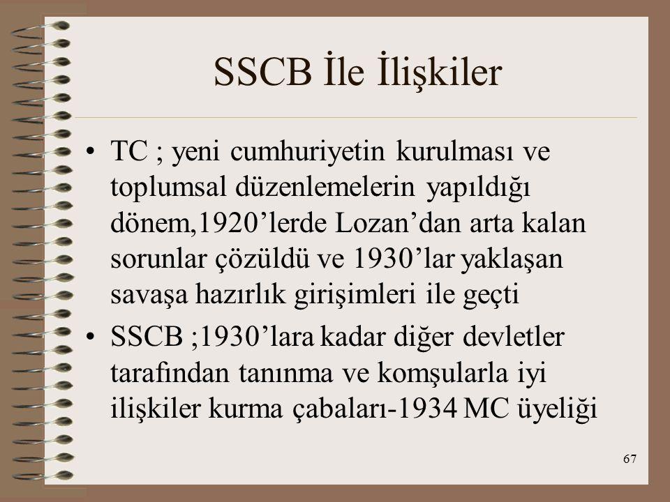 SSCB İle İlişkiler