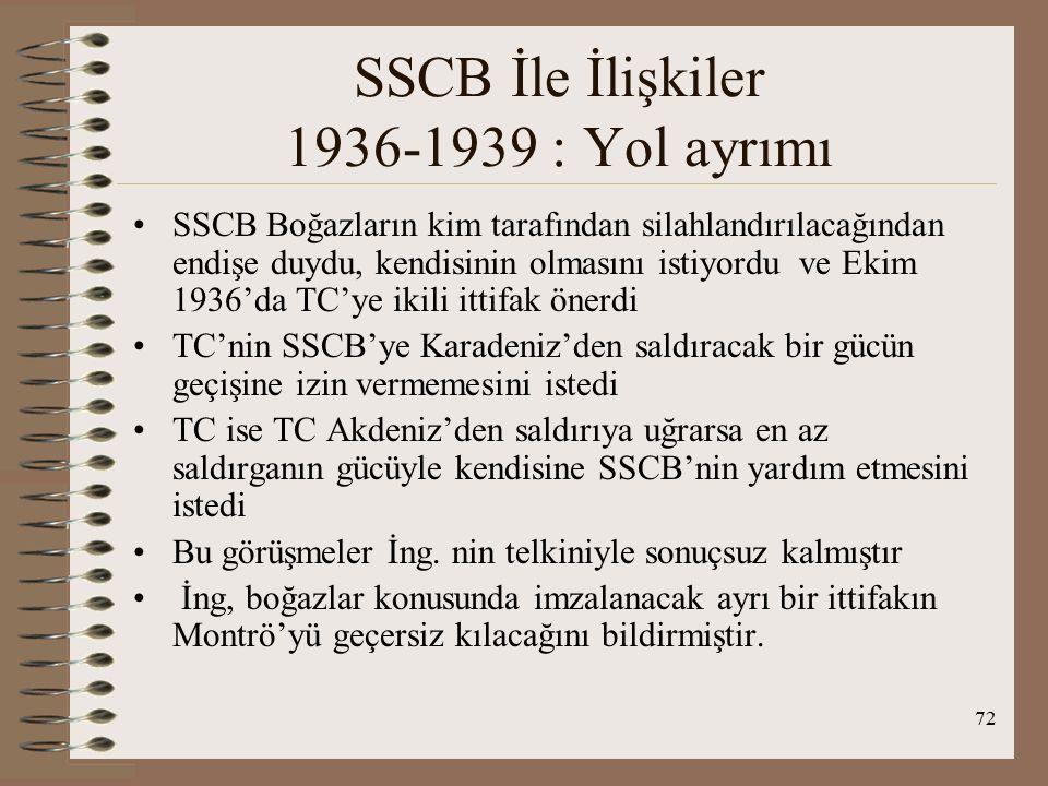 SSCB İle İlişkiler 1936-1939 : Yol ayrımı