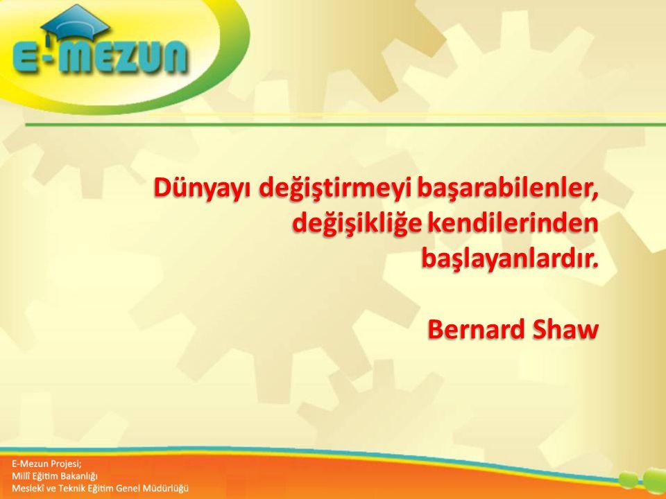 Dünyayı değiştirmeyi başarabilenler, değişikliğe kendilerinden başlayanlardır. Bernard Shaw