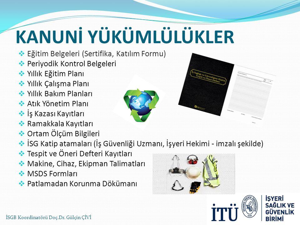 KANUNİ YÜKÜMLÜLÜKLER Eğitim Belgeleri (Sertifika, Katılım Formu)