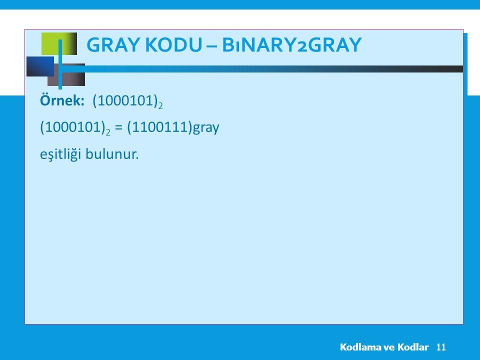 Gray Kodu – Bınary2gray Örnek: (1000101)2 (1000101)2 = (1100111)gray eşitliği bulunur.