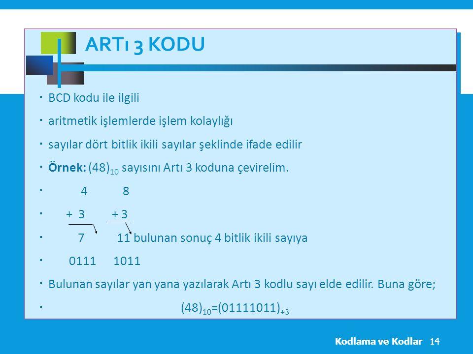 Artı 3 Kodu BCD kodu ile ilgili aritmetik işlemlerde işlem kolaylığı