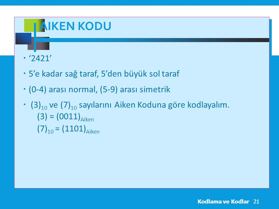 Aiken Kodu '2421' 5'e kadar sağ taraf, 5'den büyük sol taraf