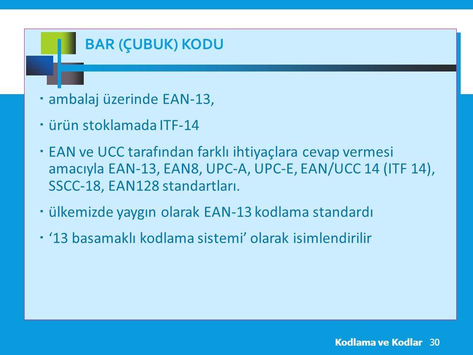 ülkemizde yaygın olarak EAN-13 kodlama standardı