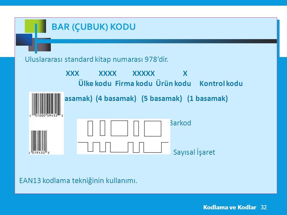 Bar (Çubuk) Kodu Uluslararası standard kitap numarası 978'dir.