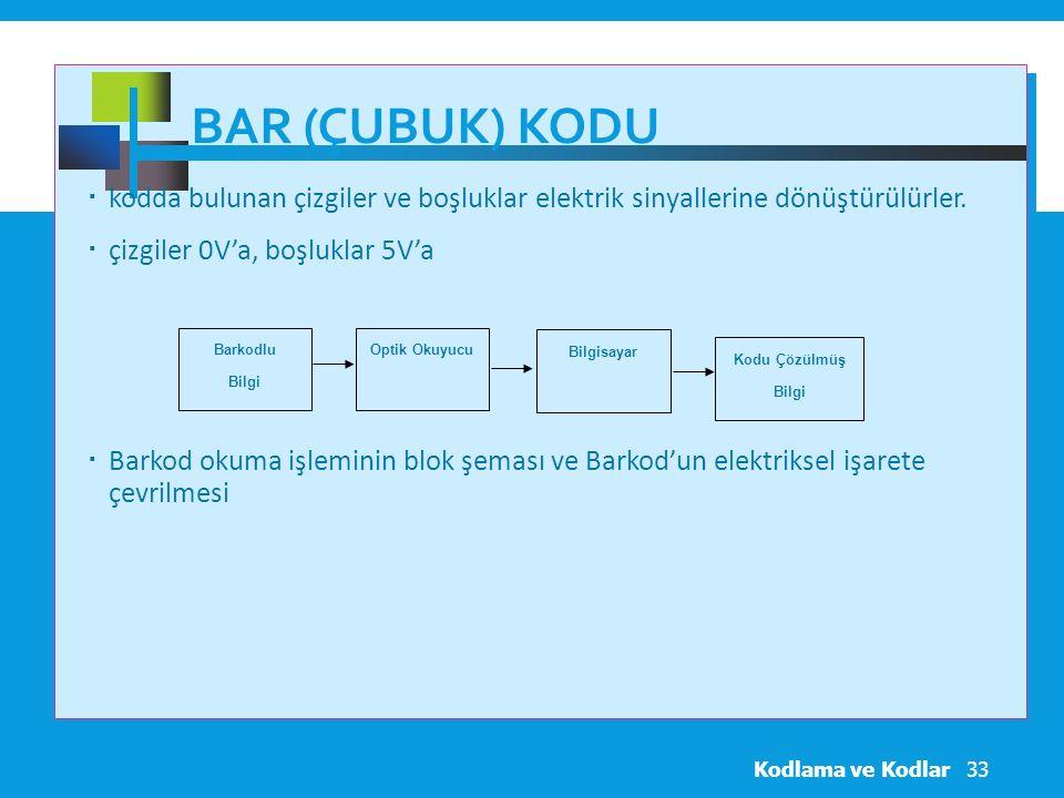 Bar (Çubuk) Kodu kodda bulunan çizgiler ve boşluklar elektrik sinyallerine dönüştürülürler. çizgiler 0V'a, boşluklar 5V'a.