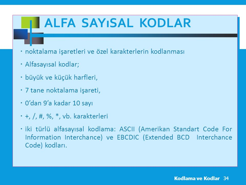 Alfa Sayısal Kodlar noktalama işaretleri ve özel karakterlerin kodlanması. Alfasayısal kodlar; büyük ve küçük harfleri,