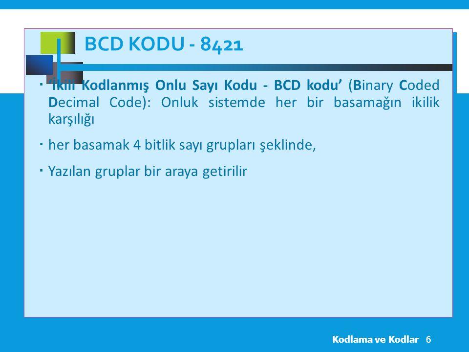 BCD Kodu - 8421 'İkili Kodlanmış Onlu Sayı Kodu - BCD kodu' (Binary Coded Decimal Code): Onluk sistemde her bir basamağın ikilik karşılığı.