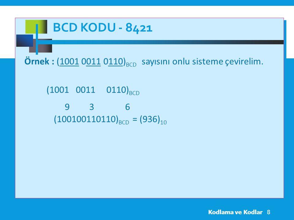 BCD Kodu - 8421 Örnek : (1001 0011 0110)BCD sayısını onlu sisteme çevirelim. (1001 0011 0110)BCD.
