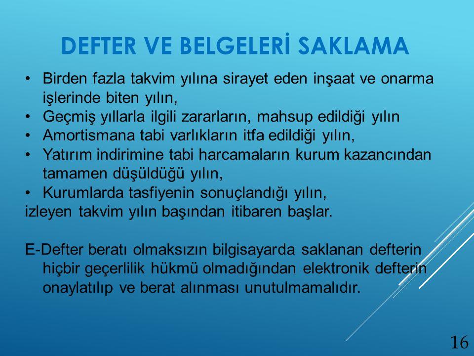 DEFTER VE BELGELERİ SAKLAMA