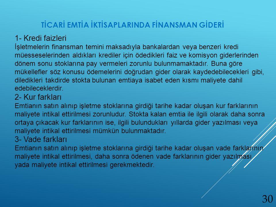 TİCARİ EMTİA İKTİSAPLARINDA FİNANSMAN GİDERİ