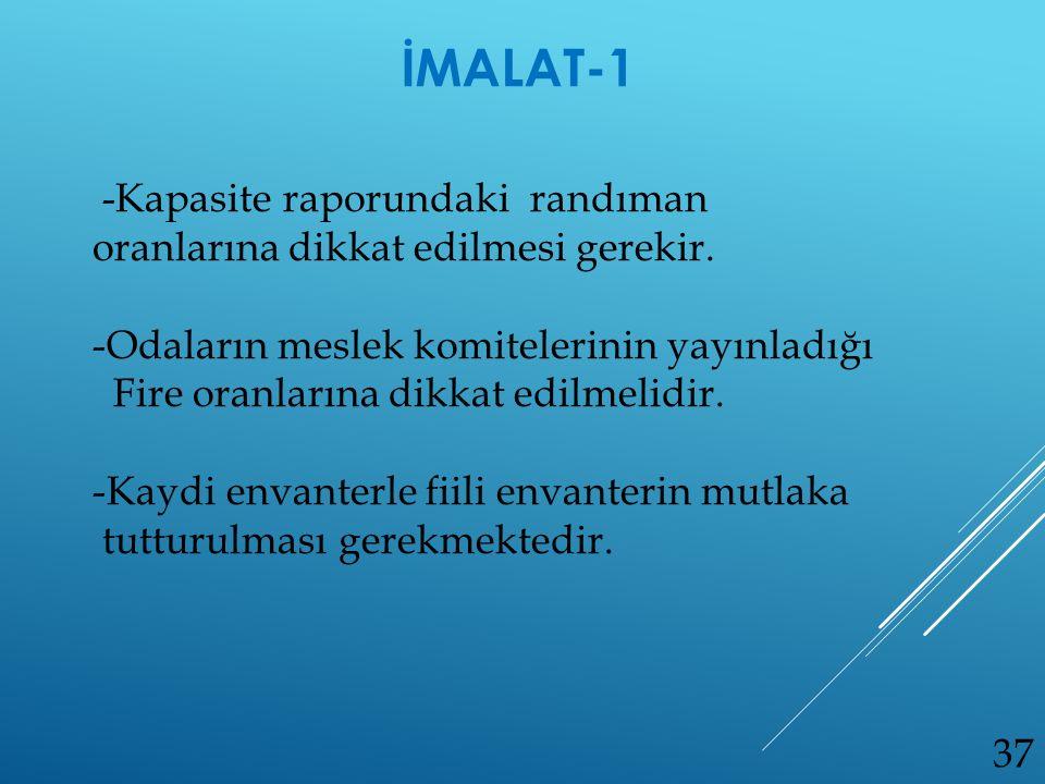 İMALAT-1 -Kapasite raporundaki randıman oranlarına dikkat edilmesi gerekir. Odaların meslek komitelerinin yayınladığı.