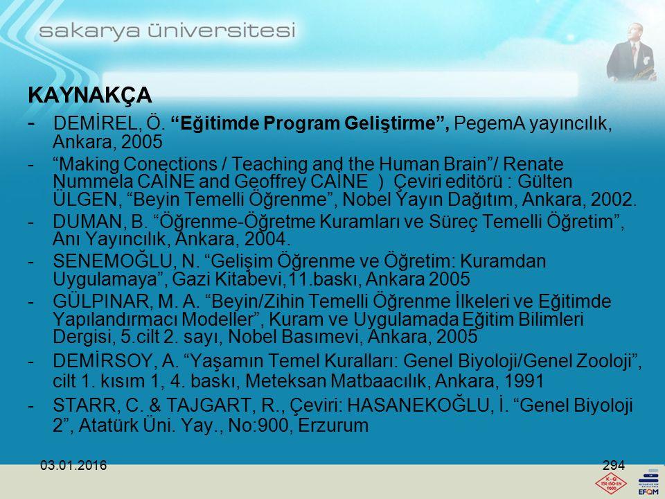 KAYNAKÇA - DEMİREL, Ö. Eğitimde Program Geliştirme , PegemA yayıncılık, Ankara, 2005.