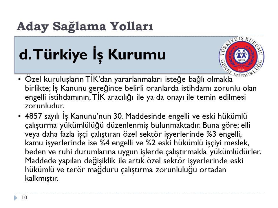 d. Türkiye İş Kurumu Aday Sağlama Yolları