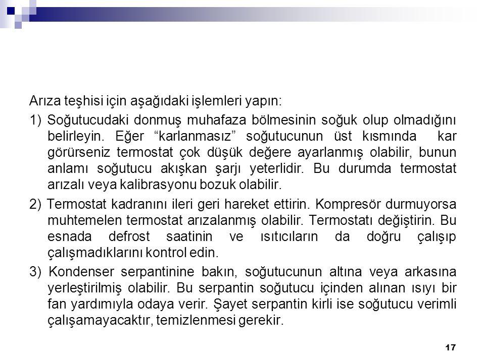 Arıza teşhisi için aşağıdaki işlemleri yapın: