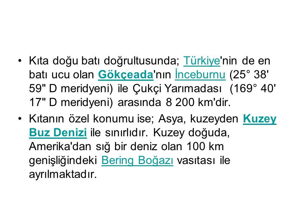 Kıta doğu batı doğrultusunda; Türkiye nin de en batı ucu olan Gökçeada nın İnceburnu (25° 38 59 D meridyeni) ile Çukçi Yarımadası (169° 40 17 D meridyeni) arasında 8 200 km dir.