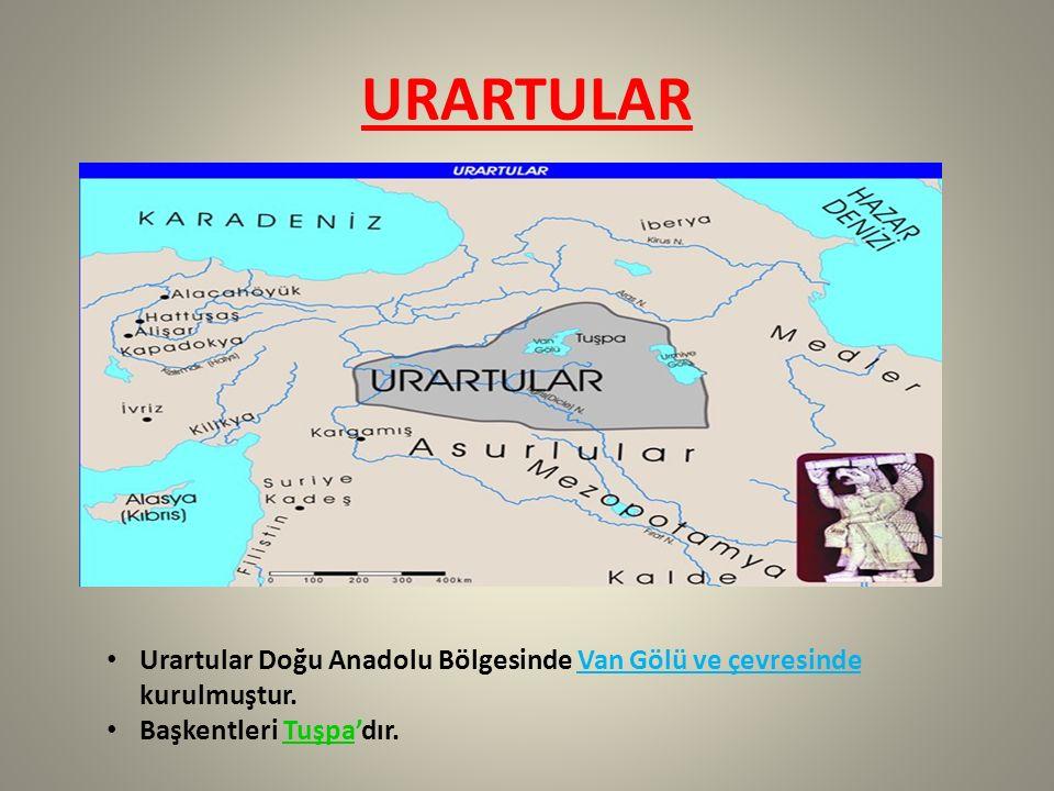 URARTULAR Urartular Doğu Anadolu Bölgesinde Van Gölü ve çevresinde kurulmuştur.